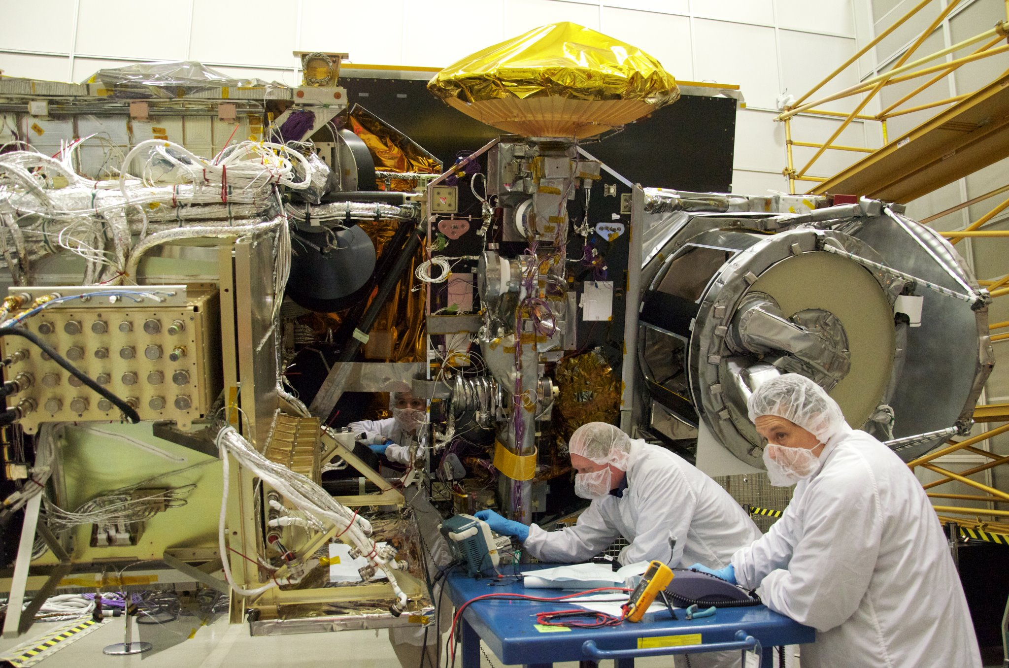 NASA engineers at work building the GPM Core Observatory