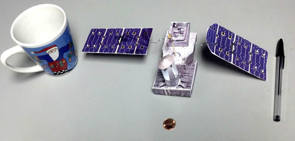 GPM Paper model with various objects for size comparison