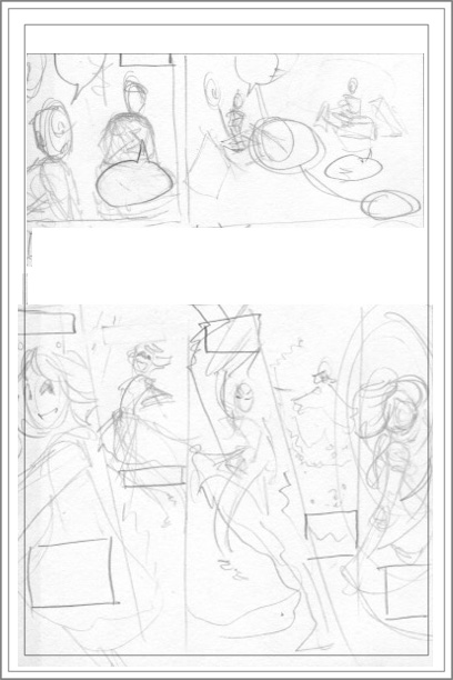 Thumbnail sketches of GPM anime comic