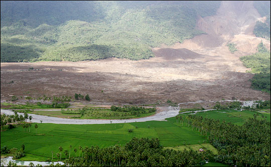 Landslide in the Philippine village of Guinsaugon