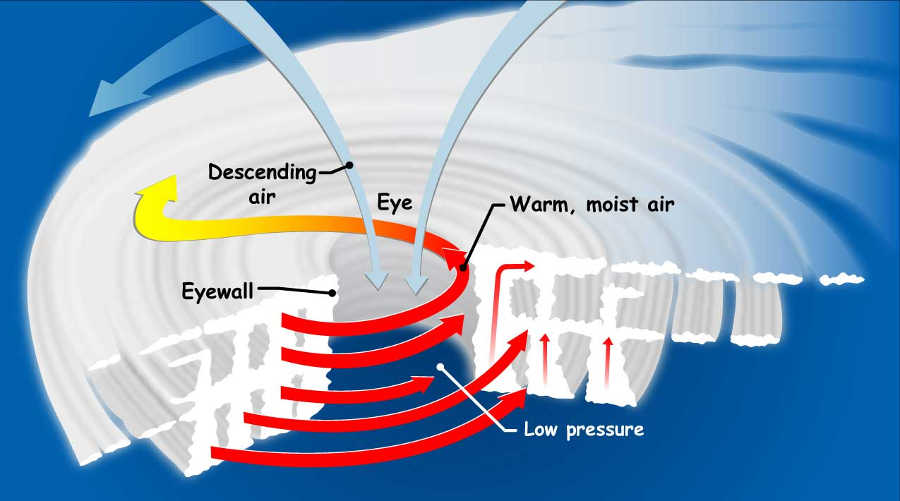 Diagram of hurricane formation  Labelled Cyclone Diagram