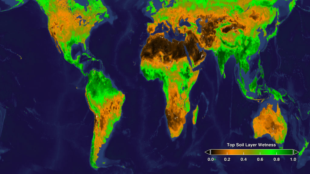 The amount of precipitation retained by the very top layer of soils on Earth is seen in this snapshot of soil wetness on each continent.