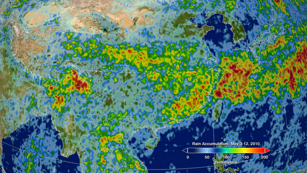 Intense rainfall caused flooding and landslides in China in May 2010, as seen by NASA's TRMM satellite instrument.