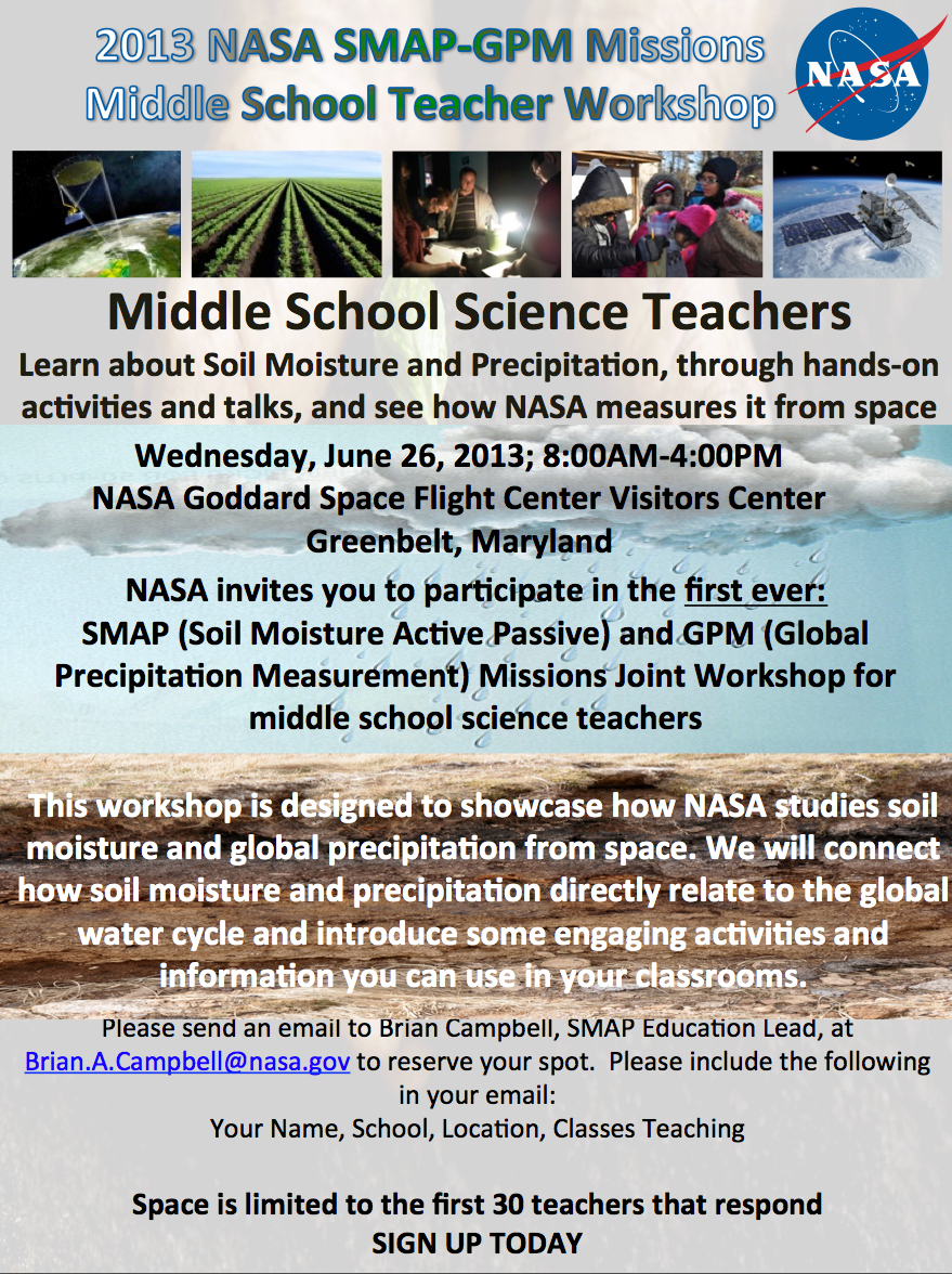 SMAP - GPM Middle School Teachers workshop flyer.