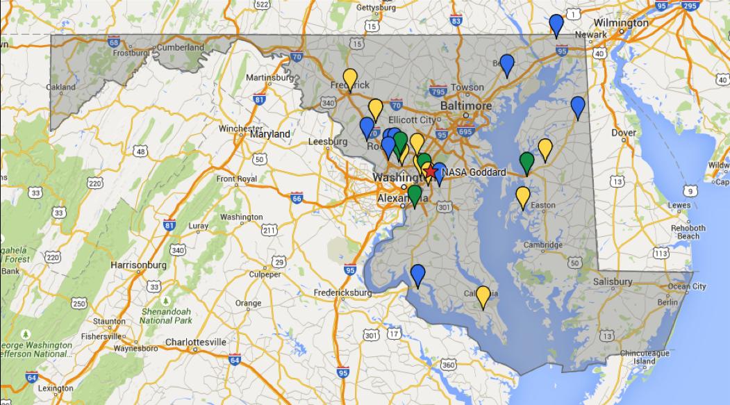 Map of Teacher Locations Around Maryland 2015