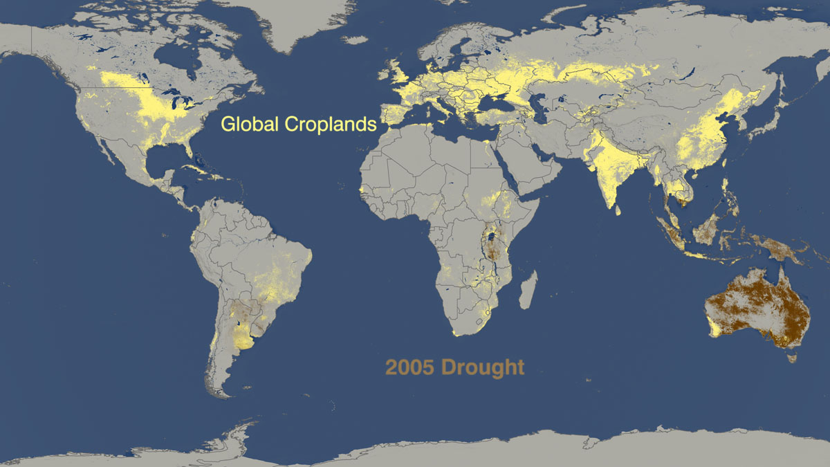 World droughts from 2005 to 2009 versus where crops are for Great pictures of the world