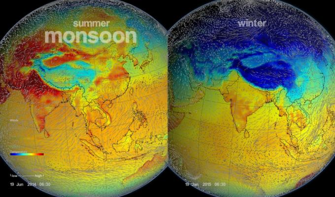 Temperature data showing difference between winter and summer.