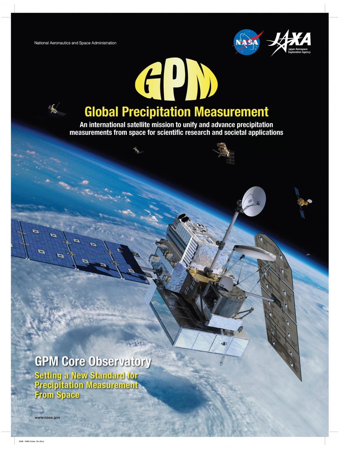 GPM Poster showing the GPM core observatory and constellation satellites