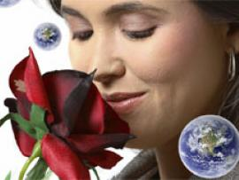 Girl smelling a rose with planet in the corner