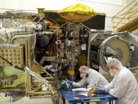Engineers working on the GPM Core Observatory