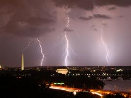 Three lightning bolts strike above Washington DC - by Brian Allen