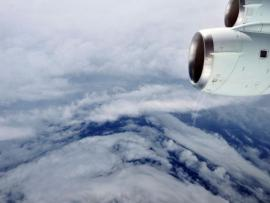 The eye of Hurricane Earl from a plane