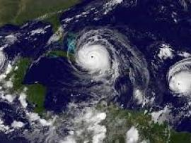 Satellite image of a hurricane.