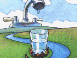 Illustration of conserving water