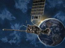 GOES satellite orbiting Earth.