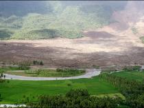 Landslide in the Philippine village of Guinsaugon,