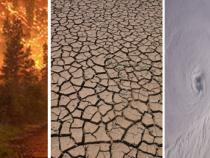 Imagery of climate change including wildfires, dry land, and a hurricane from space