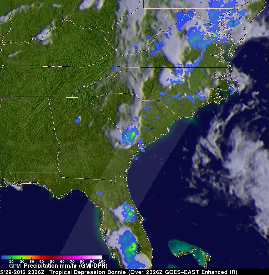 GPM Examines Tropical Depression Bonnie In The Carolinas