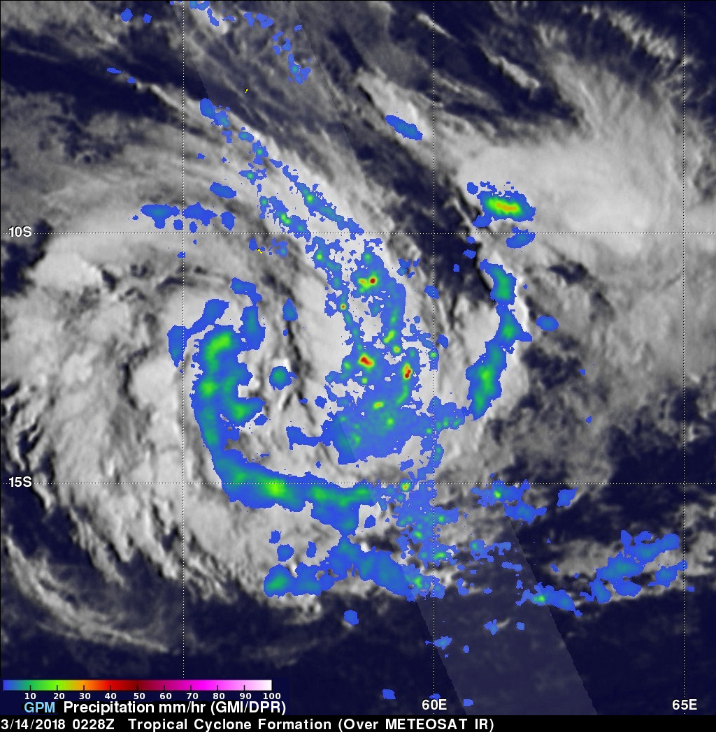 Forming Tropical Cyclone Near Madagascar Inspected By GPM