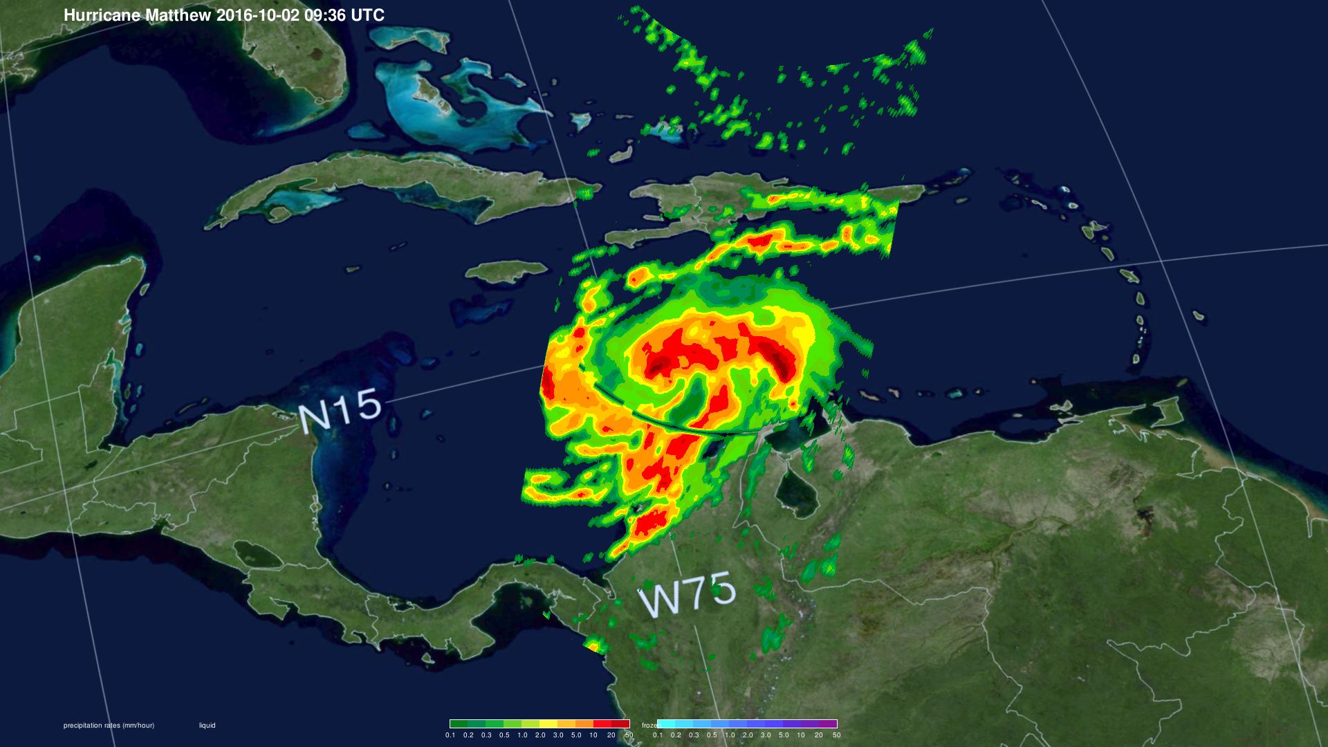 GPM Sees Hurricane Matthew Producing Dangerous Rainfall