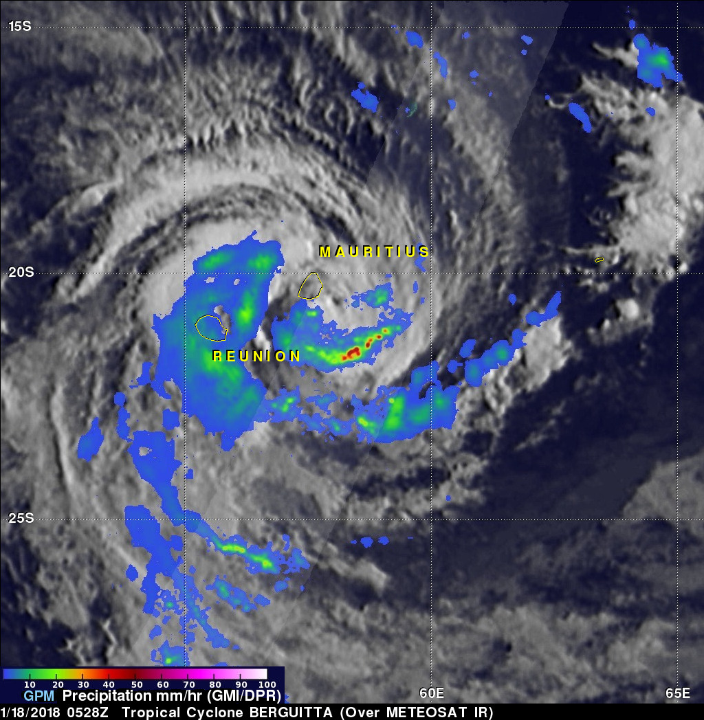 GPM Sees Tropical Cyclone BERGUITTA Battering Mauritius