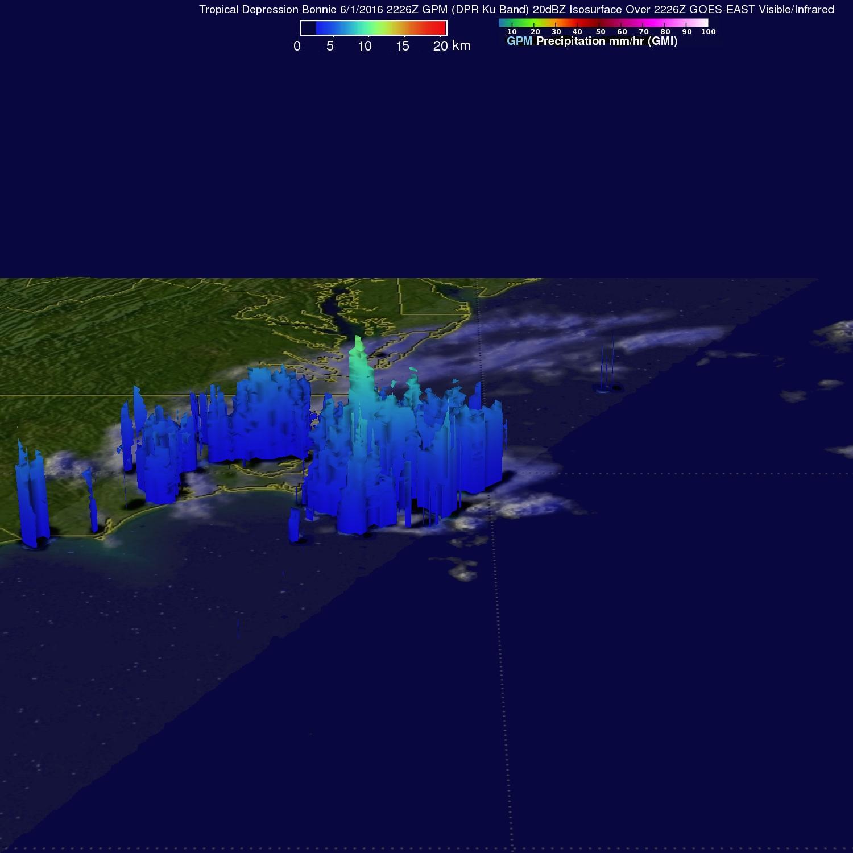 GPM Sees Bonnie as a Tropical Depression Again