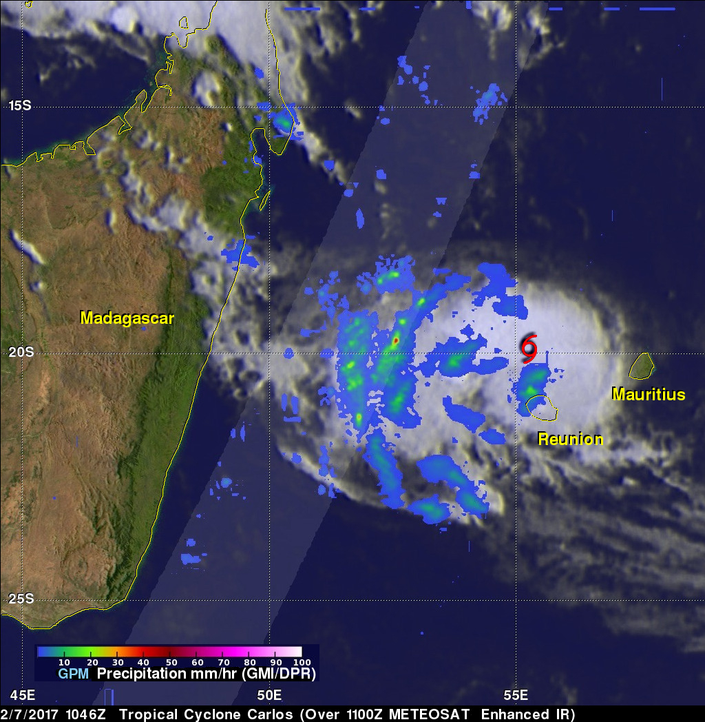 GPM Sees Carlos Moving Past Reunion Island