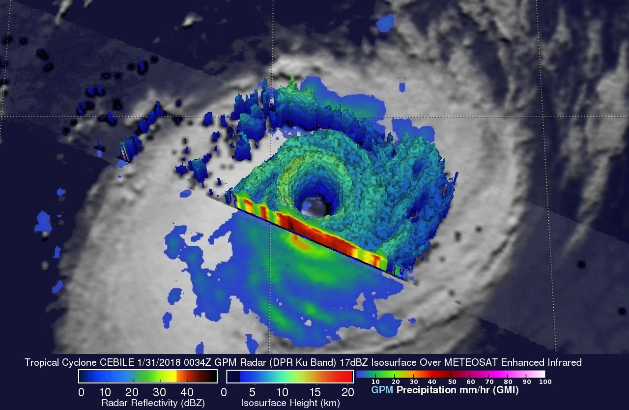 GPM Probes Powerful Tropical Cyclone Cebile