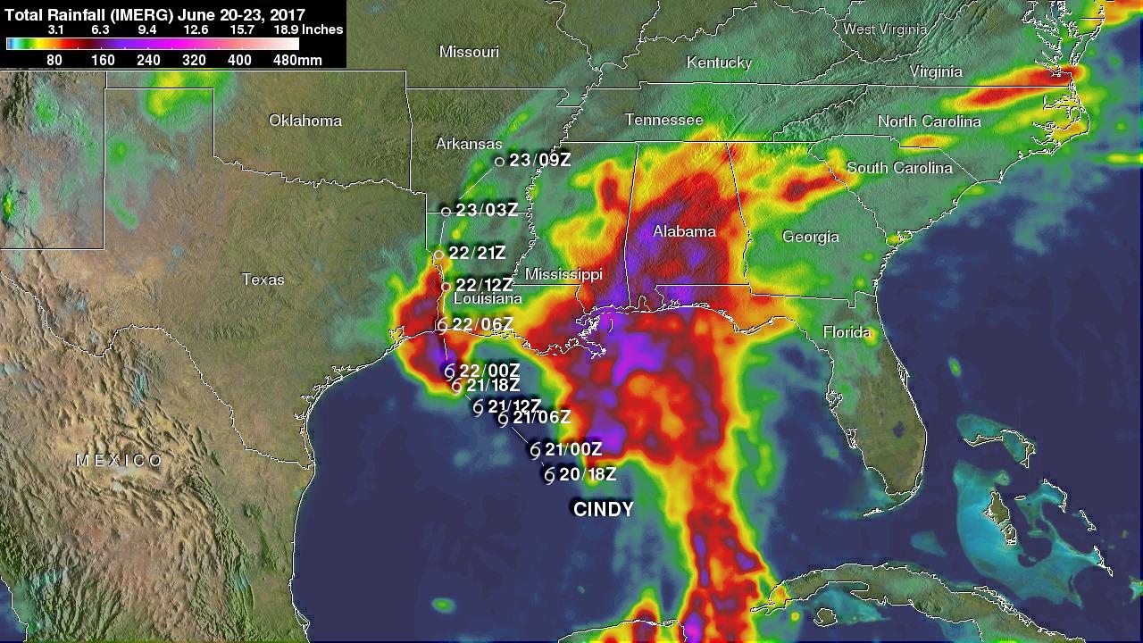 NASA's IMERG Shows Cindy's Extreme Rainfall