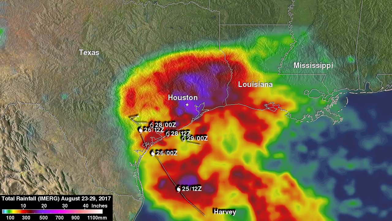 NASA's IMERG Shows Rainfall Accumulation Along Harvey's Track