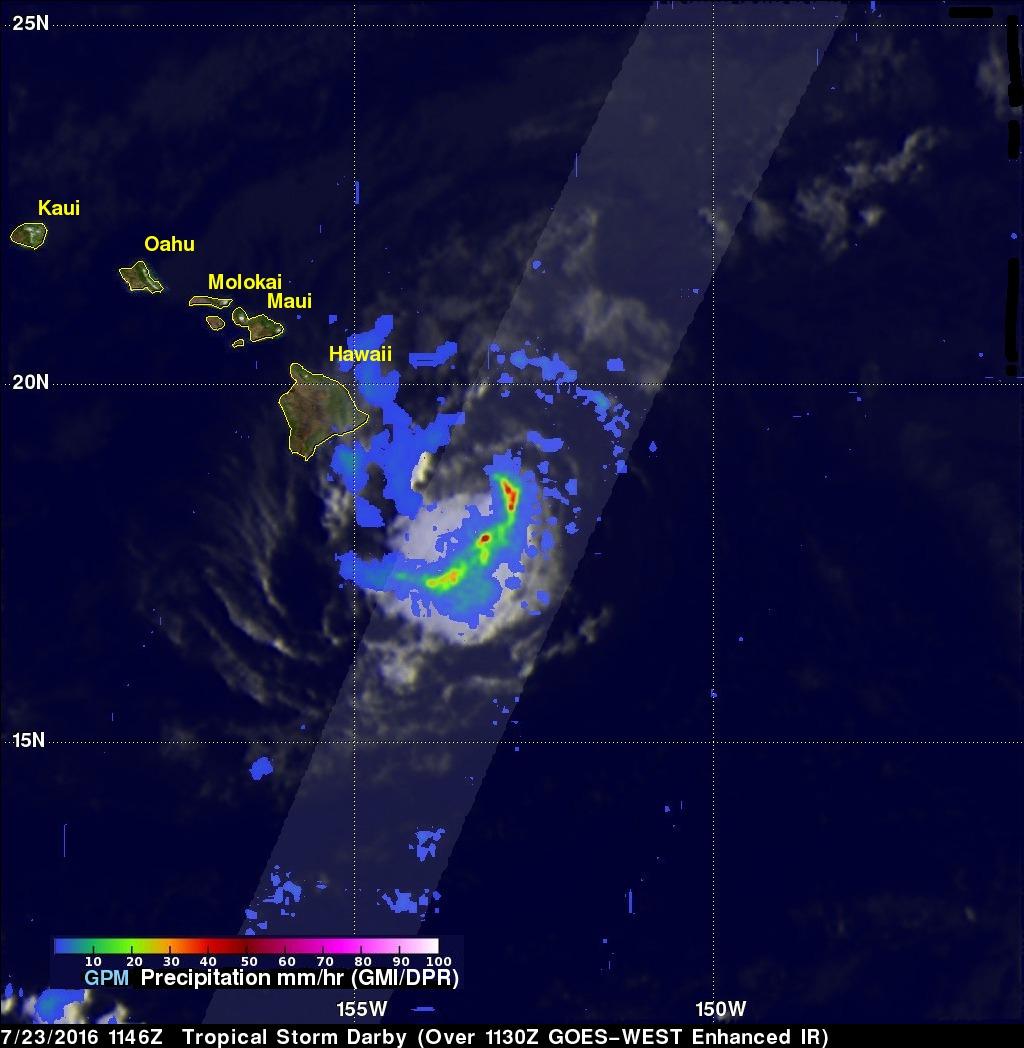 Tropical Storm Darby Brings Occasionally Heavy Rain To The Hawaiian Islands