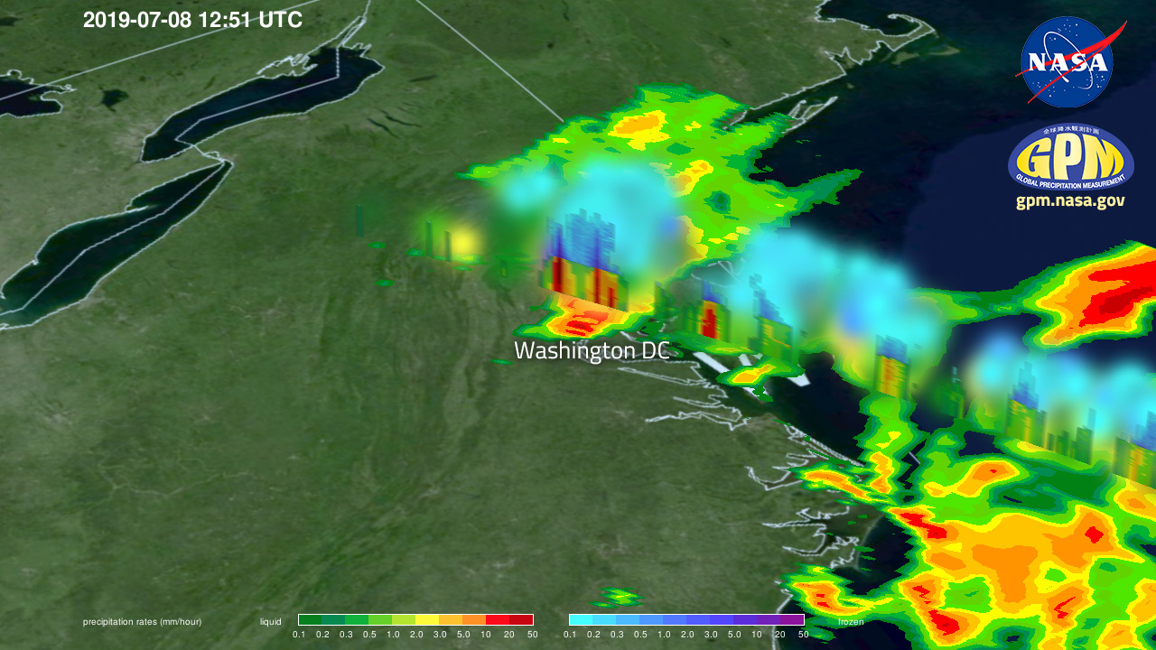GPM Flies Over Flooding Rainfall in Washington DC