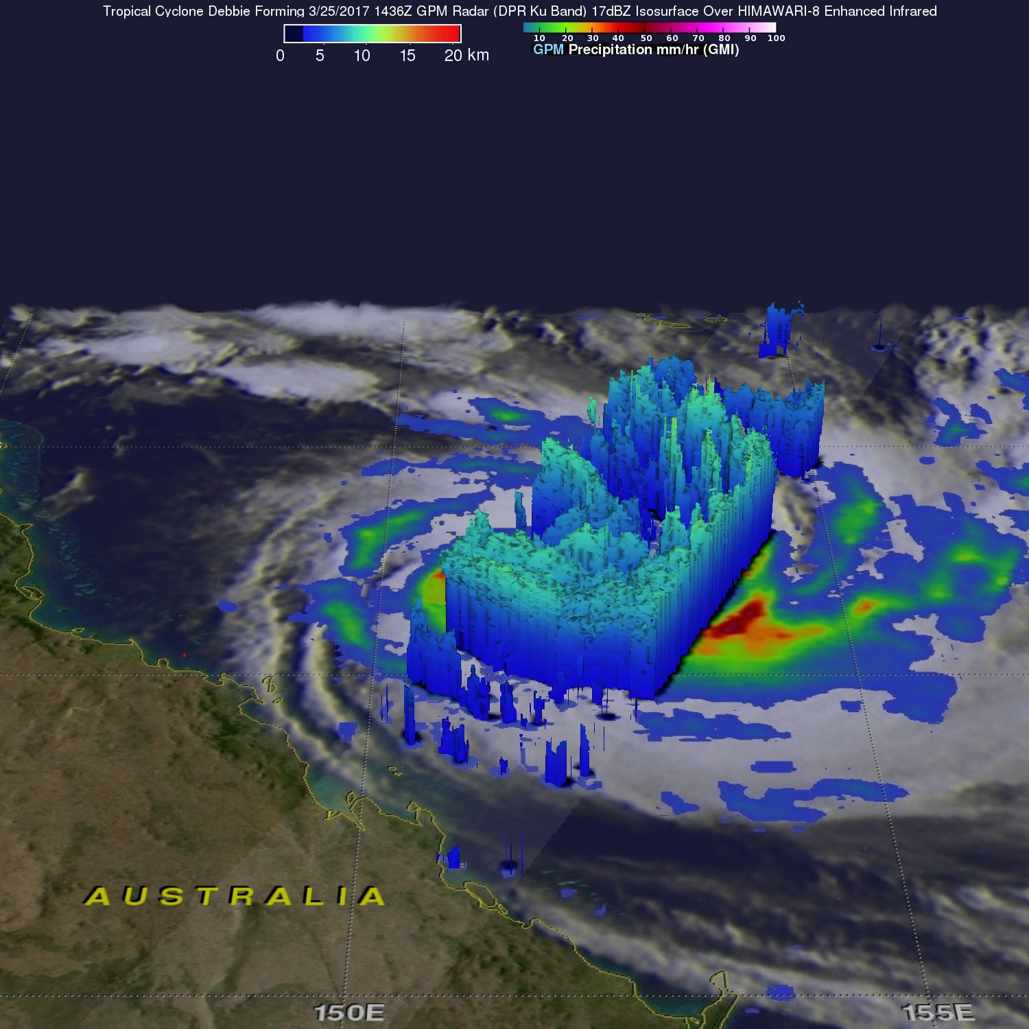 GPM Measures Tropical Cyclone Debbie