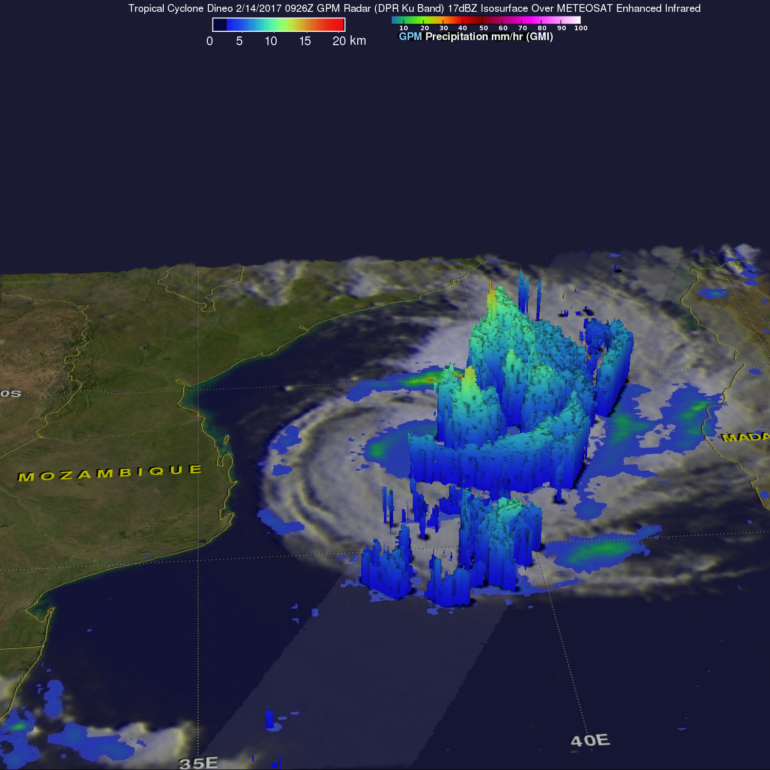 Intensifying Tropical Cyclone Dineo Seen By GPM
