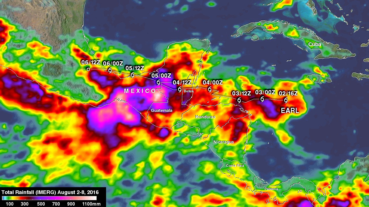 Deadly Hurricane Earl's Rainfall Measured With IMERG