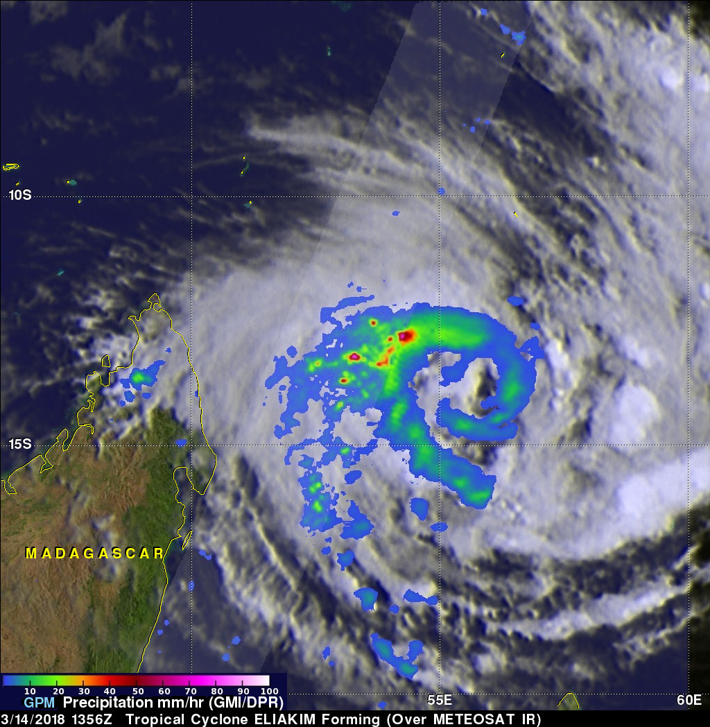GPM Sees Tropical Cyclone Eliakim Forming, Threatening Madagascar