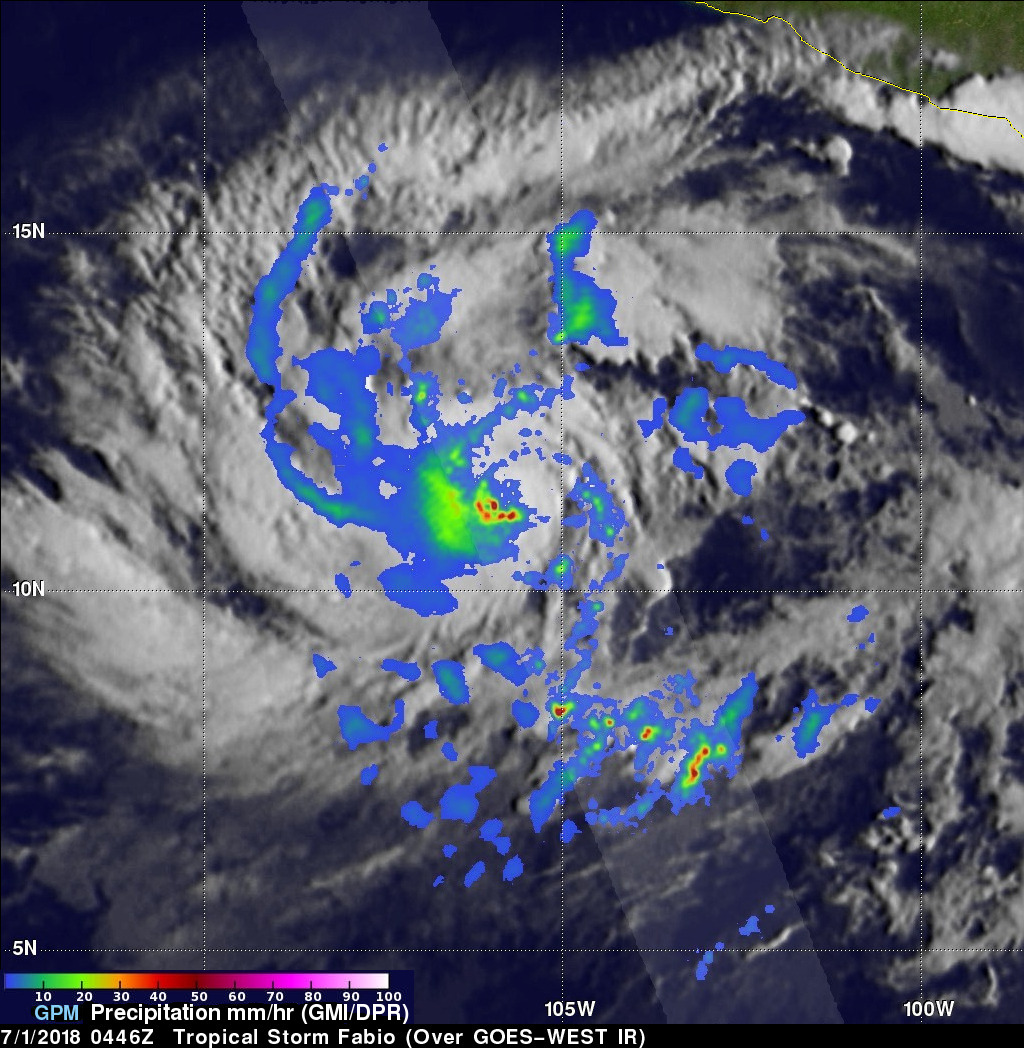 Eastern Pacific Tropical Storm FABIO Examined With GPM Satellite