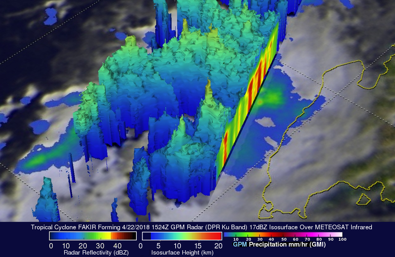 GPM Sees Tropical Cyclone Fakir Forming Near Madagascar