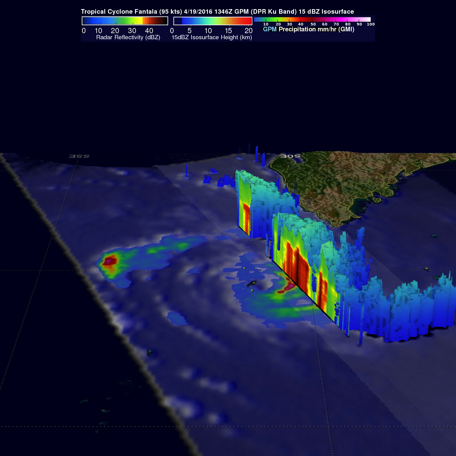 Tropical Cyclone Fantala's Changes Observed By GPM
