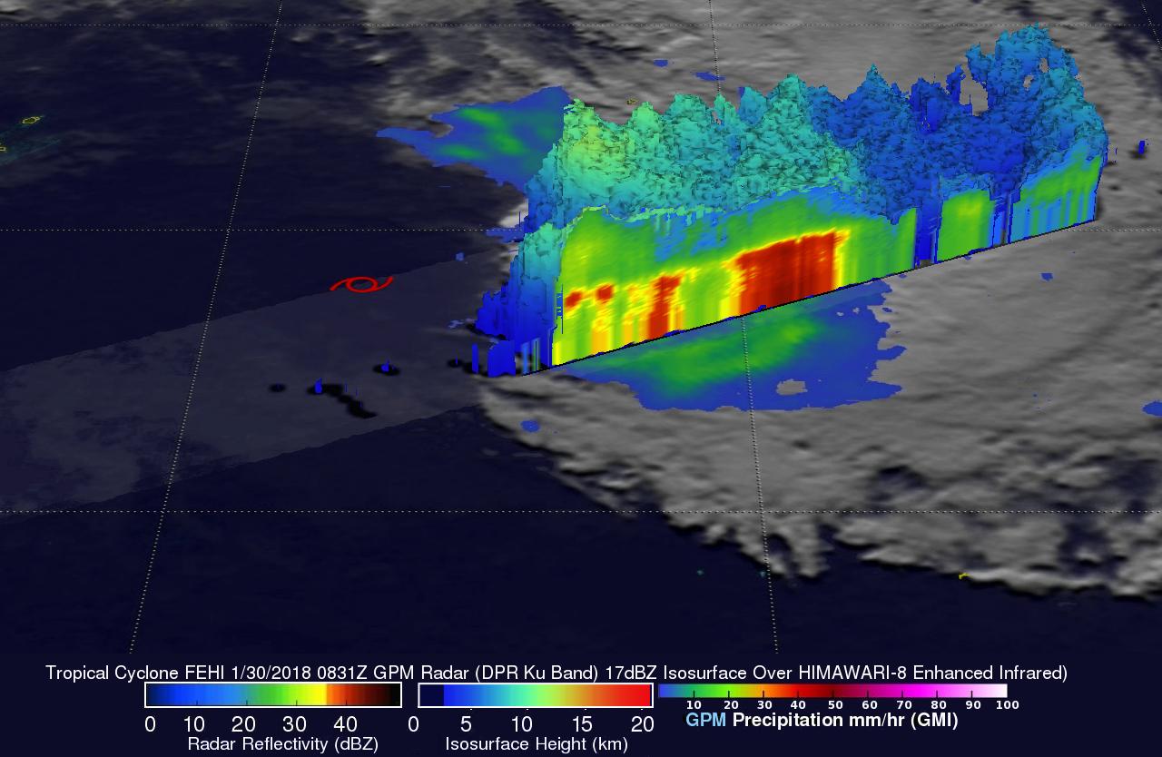 GPM Views Sheared Tropical Cyclone Fehi