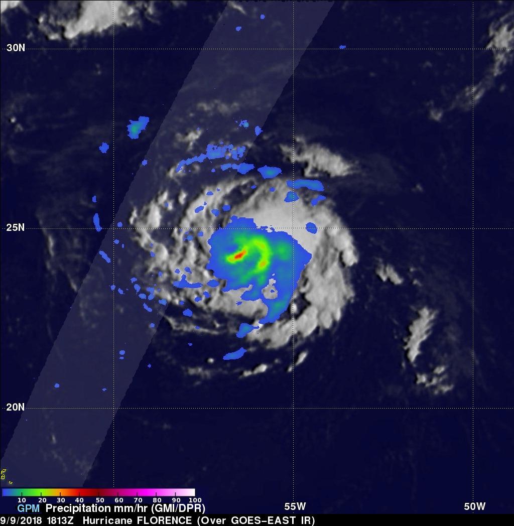 GPM Sees Heavy Rain In Menacing Hurricane Florence