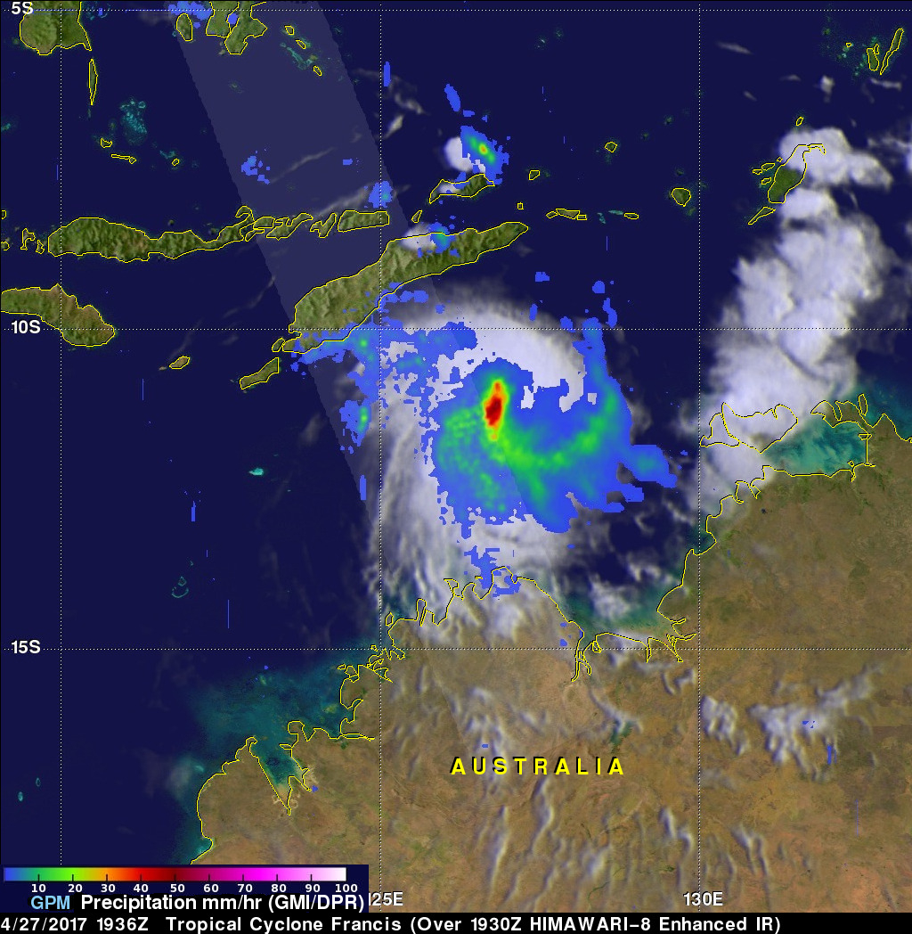 Intensifying Tropical Cyclone Francis Inspected By GPM