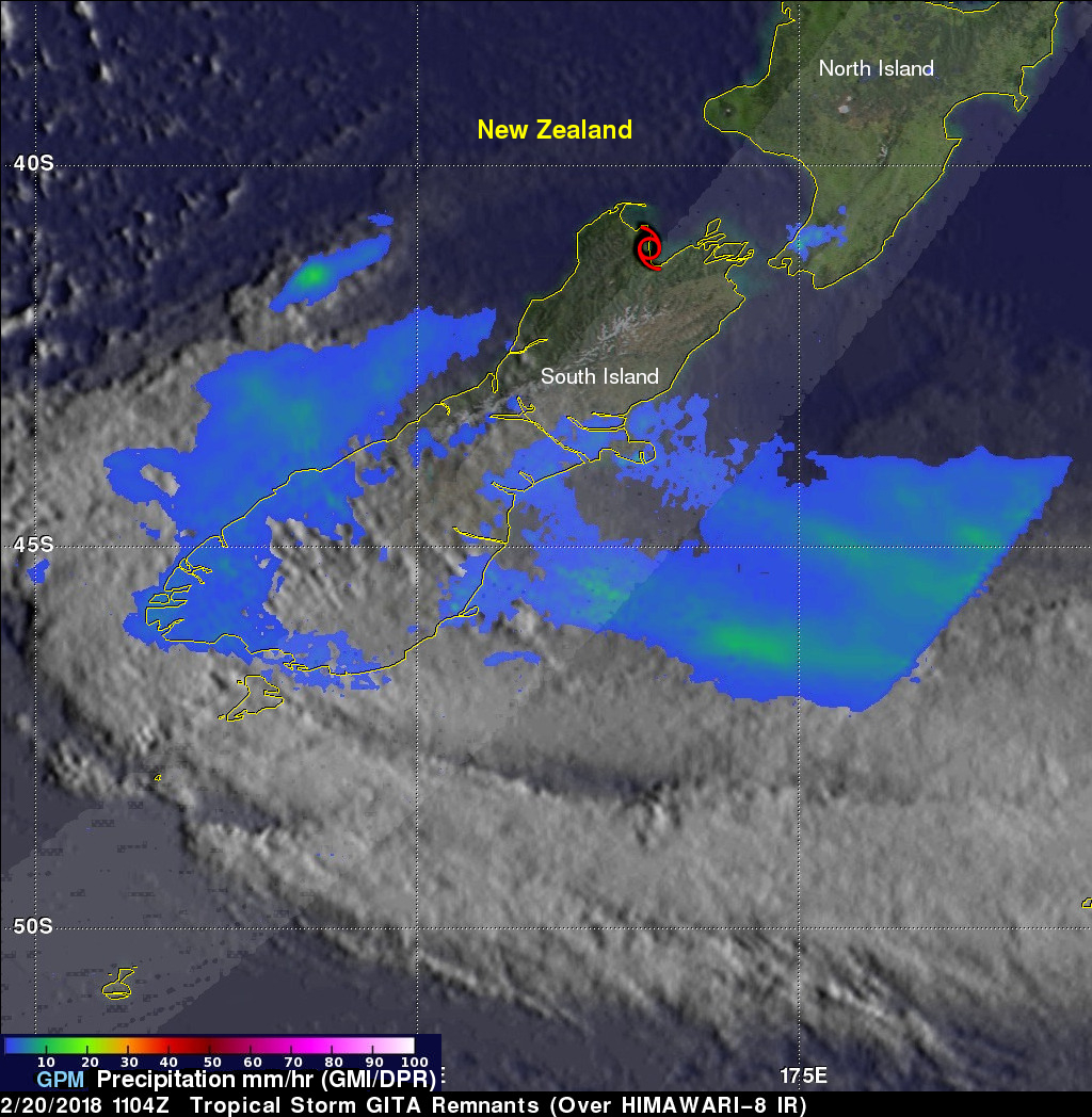 GPM Examines Tropical Cyclone Gita Remnants Over New Zealand