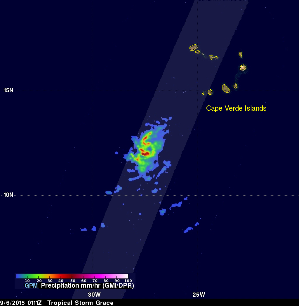 tropical storm Grace viewed by GPM