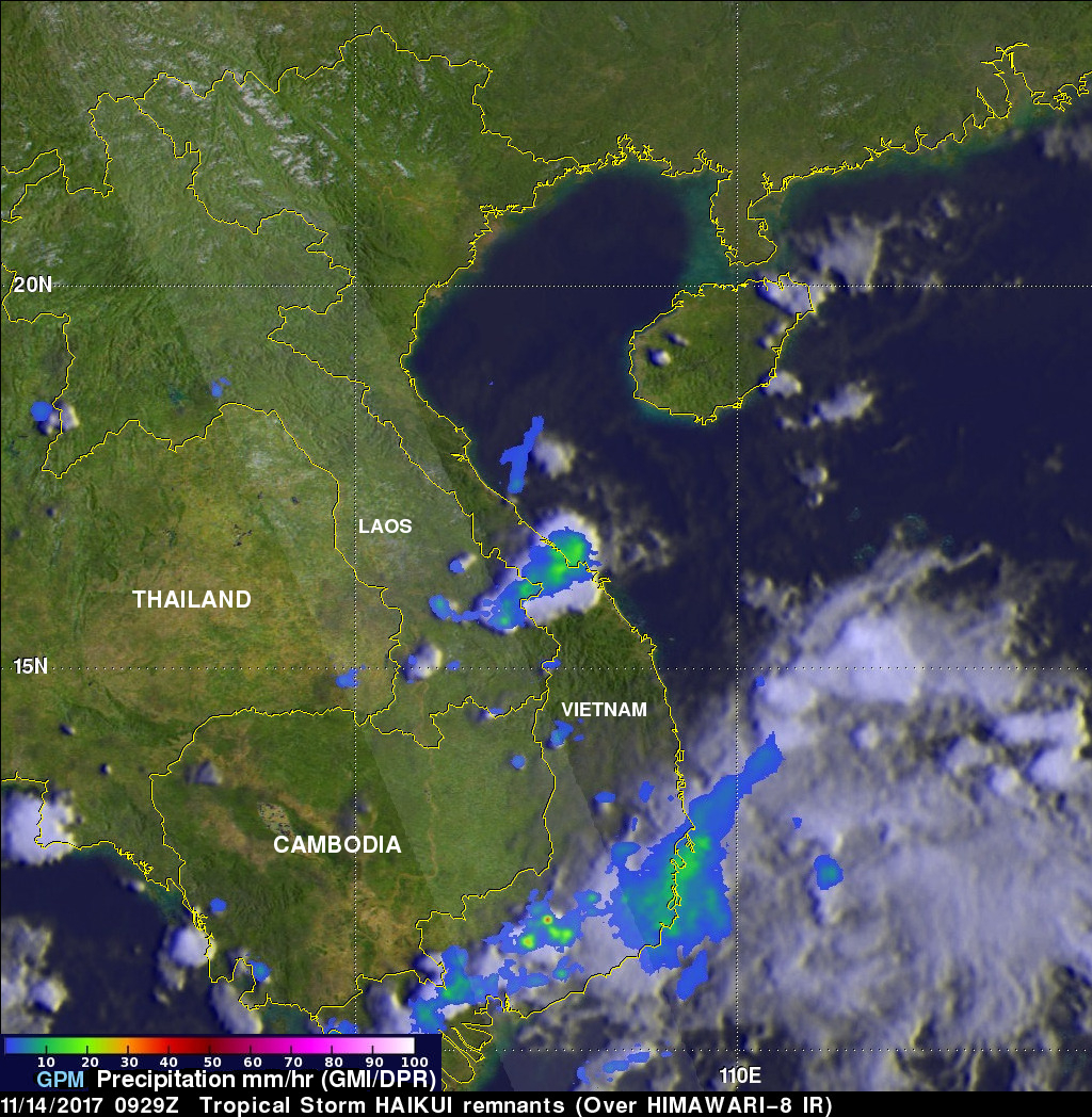 GPM Sees Remnants Of Tropical Storm Haikui Affecting Vietnam