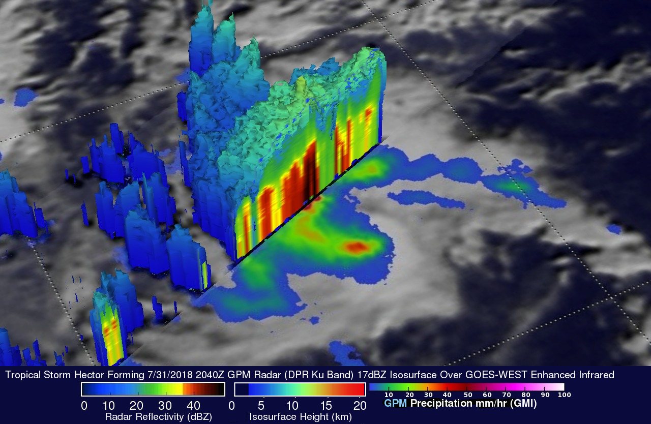 GPM Sees Tropical Storm Hector Forming