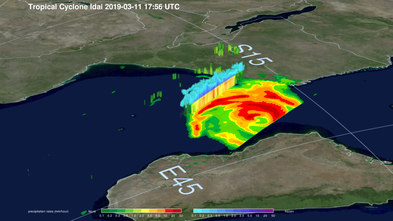 GPM Flies Over Developing Tropical Storm Idai Twice