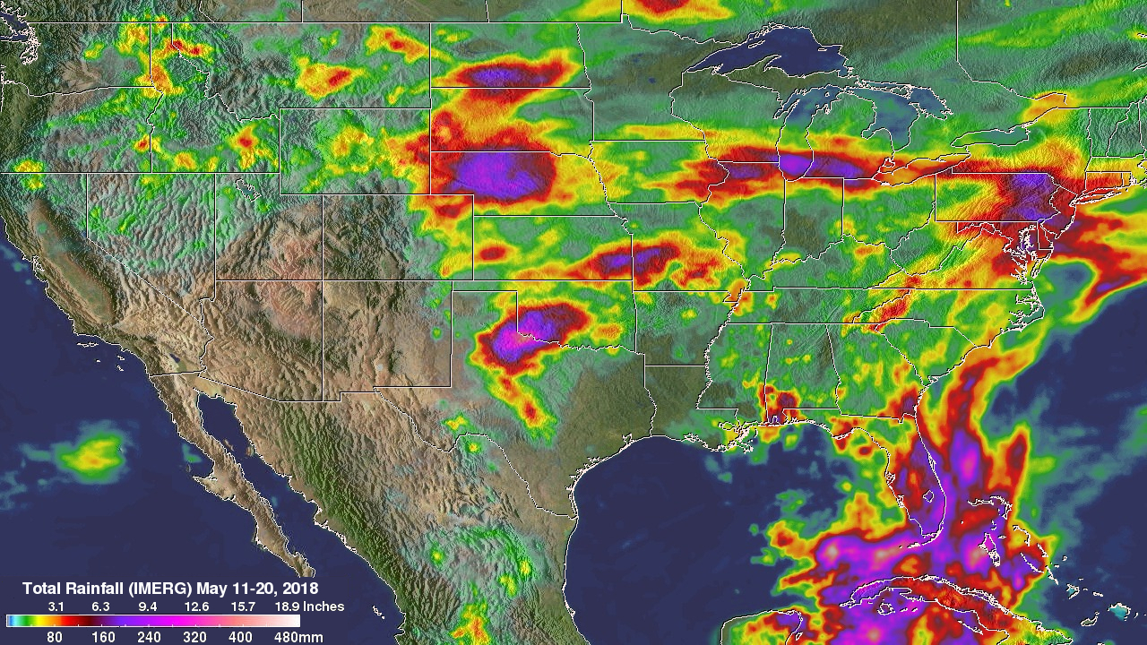 Heavy Rainfall Across the U.S. Measured by GPM IMERG