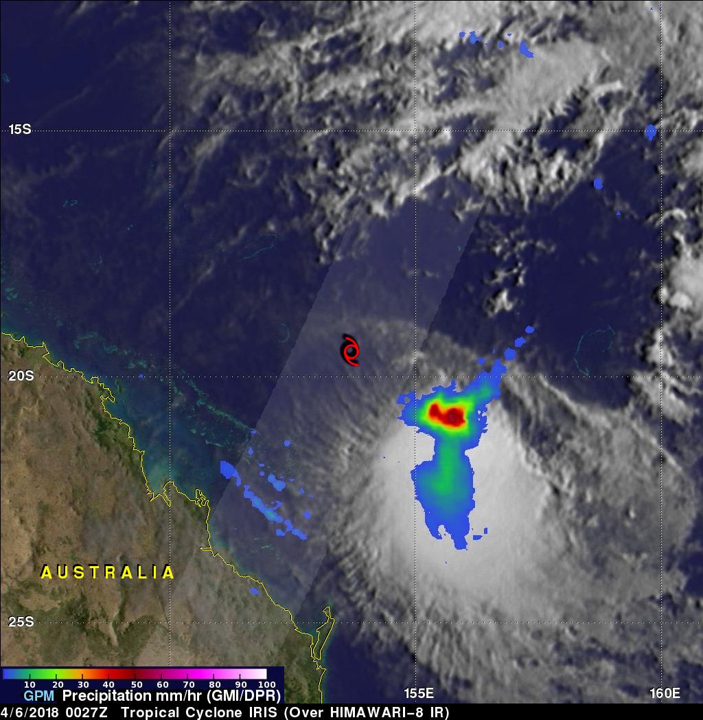 GPM Shows Rainfall Southeast Of Sheared Tropical Cyclone Iris