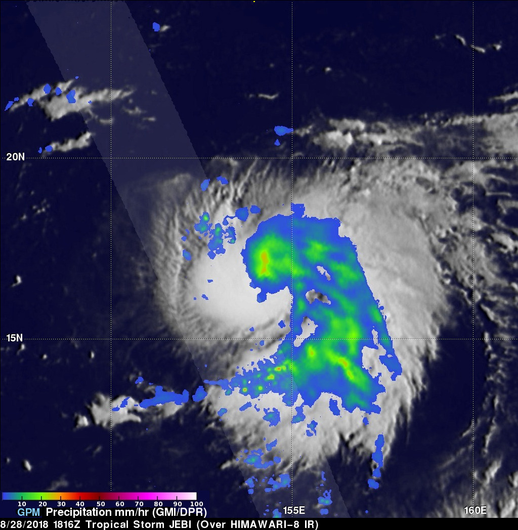 GPM Sees Tropical Cyclone Jebi Threaten Japan